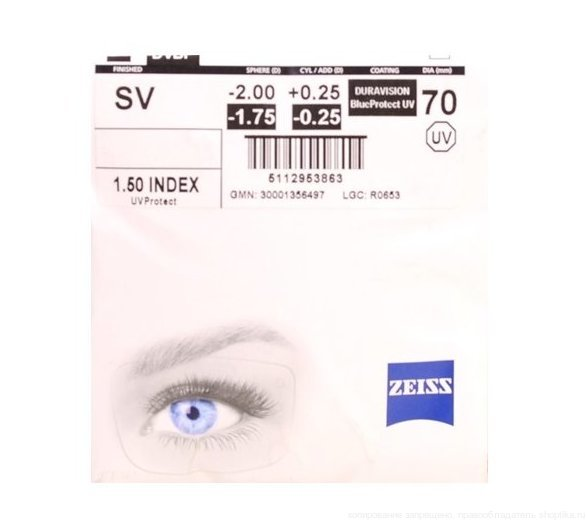1.5 SV ZEISS DURAVISION BlueProtect Dia70